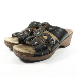 Dansko Serena Black Leather Wedge Slide Sandals